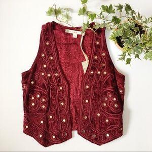 Chelsea & Violet crushed velvet maroon vest